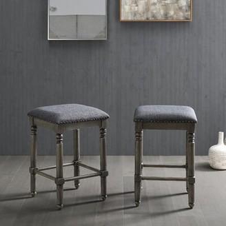 "Gracie Oaks Jasmin Bar & Counter Stool Seat Height: Counter Stool (24.25"" Seat Height), Seat Color: Gray, Frame Color: Gray"