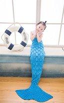 Coroler Kids Crochet Mermaid Tail Blanket with Scales Patterns All Seasons,Sky Blue