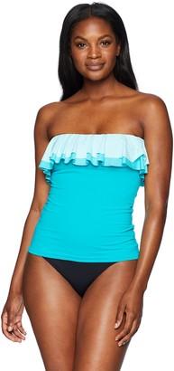 Bleu Rod Beattie Bleu | Rod Beattie Women's Double Ruffle Tankini Swimsuit Top