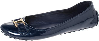 Louis Vuitton Blue Patent Leather Oxford Ballet Flats Size 38.5