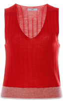 Tome Red Cotton Sleeveless Sweater