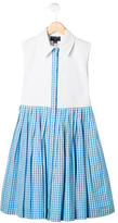 Oscar de la Renta Girls' Pleated Gingham Print Dress