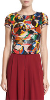 Alice + Olivia Kelli Sequin-Embellished Crop Top, Multicolor