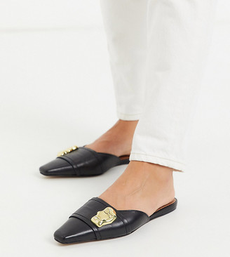 Asos DESIGN Wide Fit Lavish premium leather embellished mules in black
