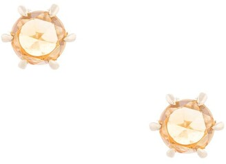 Natalie Marie 9kt Yellow Gold Tiny Rose-Cut Citrine Studs