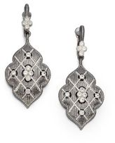 Judith Ripka Gothic White Sapphire & Sterling Silver Quilted Drop Earrings