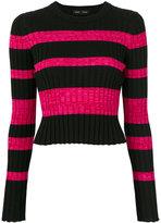 Proenza Schouler stripe cropped jumper - women - Silk/Viscose/Cashmere/Wool - M