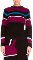 Kenzo Ribbed Striped Wool Sweater, Black