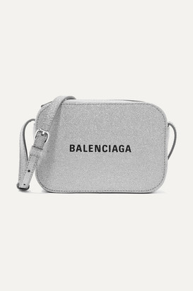 Balenciaga Everyday Xs Aj Printed Glittered Leather Camera Bag - Silver