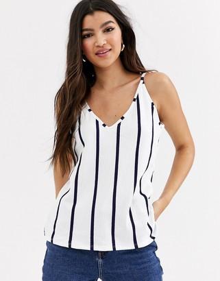 Pimkie strap detail v neck stripe cami in white