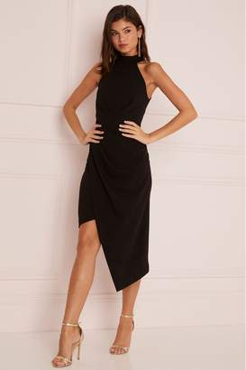 Lipsy Halter Neck Asymmetric Bodycon Dress - 6 - Black