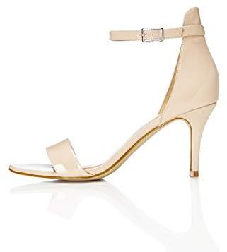 BEIGE find. Women's Ankle Strap Sandals in Patent Leather with Stiletto Heel, Nude), 8 UK