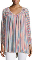 Calypso St. Barth Damaya Bracelet-Sleeve Striped Top, Coconut