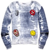 Flowers by Zoe Girls' Faded Denim Look Emoji Sweater - Sizes S-XL