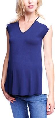 Maternal America Women's Short Sleeve Pleat Back Top