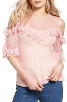 Sjyp Women's Frilled Lace Cold Shoulder Blouse