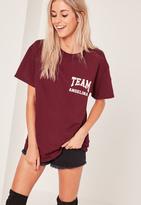 Missguided Team Angelina Graphic T-Shirt Burgundy