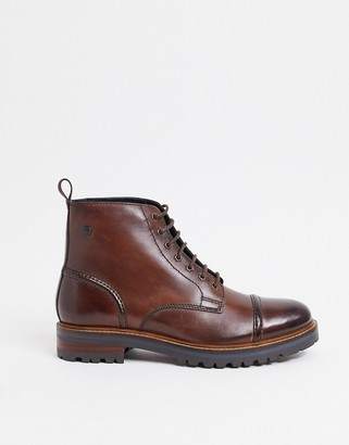 Base London franklin toe cap lace up boots in brown