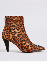 M&S Collection Leather Stiletto Heel Point Toe Ankle Boots