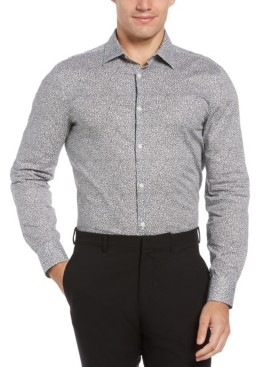 Perry Ellis Men's Clustered Flowers Print Long Sleeve Button-Down Stretch Shirt