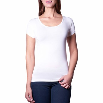 Trust Wearable Copenhagen Sustainable Sweat-Absorbing Underwear t-Shirt in Super Soft Bamboo Deep O-Neck for Women Liquid and Odor Blocking membranes Protecting arm pits and Neck (White Medium)