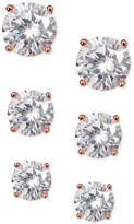Giani Bernini 3-Pc. Set Cubic Zirconia Stud Earrings in Rose Gold-Plated Sterling Silver, Created for Macy's