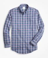 Brooks Brothers Non-Iron Milano Fit Herringbone Plaid Sport Shirt