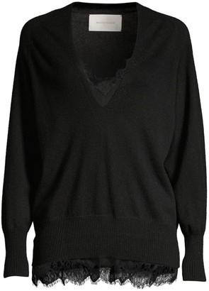 Brochu Walker Lace Trim V-Looker Sweater