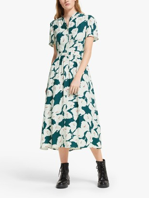 Somerset by Alice Temperley Peacock Lily Print Shirt Dress, Green