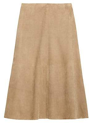 Theory Women's Volume Suede A-Line Skirt