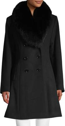 Sofia Cashmere Fox Fur-Trim Double-Breasted Coat