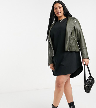 Only Curve faux-leather jacket in green