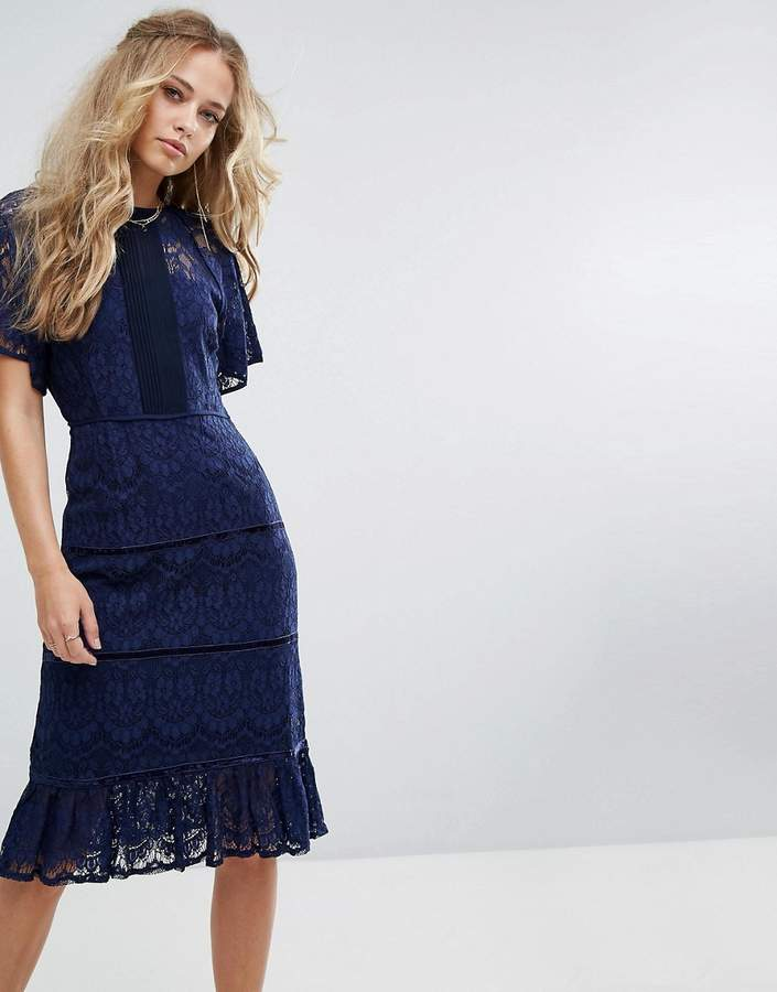 Foxiedox Lace Panel Midi Dress