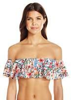 Lucky Brand Women's Garden Bandeau Flounce Bikini Top