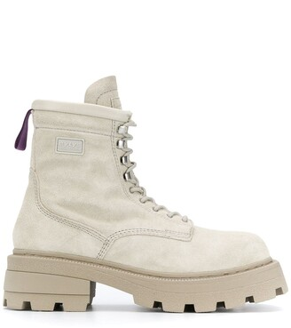 Eytys Square-Toe Leather Lace-Up Boots