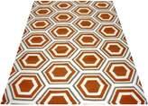 Cornermill Hexagon Wool Durrie Rug, Apricot B 160 x 230cm