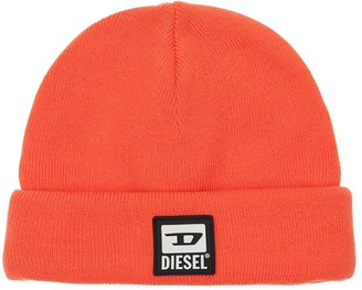 Diesel Logo Patch Tech Beanie Knit Hat
