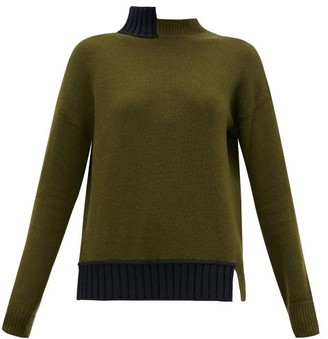 Marni Open-back Stepped-collar Wool-blend Sweater - Green Multi