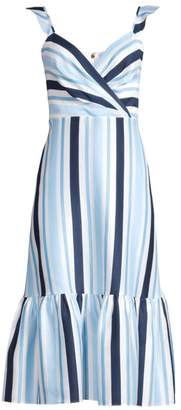 Draper James Ruffle Stripe Midi Dress