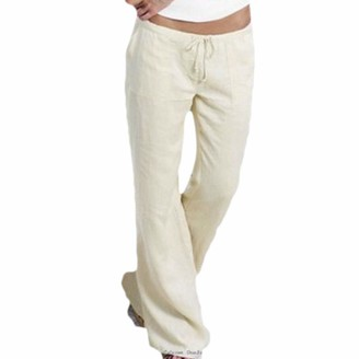 NEEDRA SALES Trousers Women Summer Ladies Pocket Elastic Band Trousers Long Pants Baggy Wide Leg Pants WH/M White