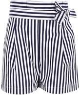 River Island Girls navy stripe paperbag waist shorts