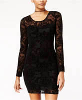 Material Girl Juniors' Flocked Bodycon Dress, Only at Macy's