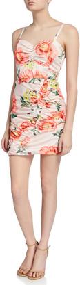 Parker Black Meena Ruched Floral-Print Sweetheart Mini Dress