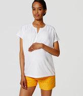 "LOFT Petite Maternity Striped Lace Riviera Shorts with 4"" Inseam"