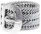 Lois Hill Sterling Silver Hand Woven Flat Wire Buckle Band Ring - Size 5.5