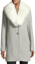 T Tahari Olivia Faux-Fur Wool-Blend Coat, Heather Gray