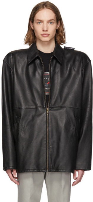 Balenciaga Black Leather Tattoo Jacket