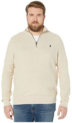 Polo Ralph Lauren Big & Tall Big Tall Textured 1/4 Pullover Sweater (Oatmeal Heather) Men's Clothing