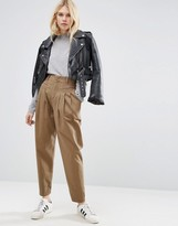 Asos High Waist Brushed Chino Pants
