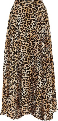 Alice + Olivia Katz Pleated Leopard-print Silk-blend Chiffon Maxi Skirt